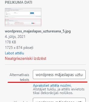 wordpress mājaslapas uzturesana alt tagi